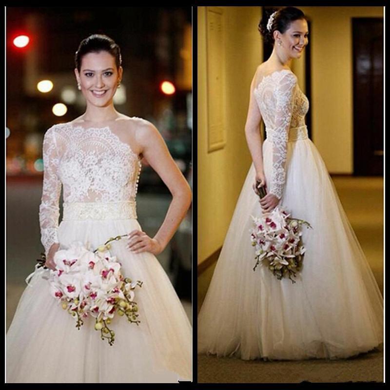 Nuevo diseño sexy vestidos de novia de un hombro de manga larga de encaje de tul una línea de longitud del piso vestidos de novia de estilo moderno por encargo W1039