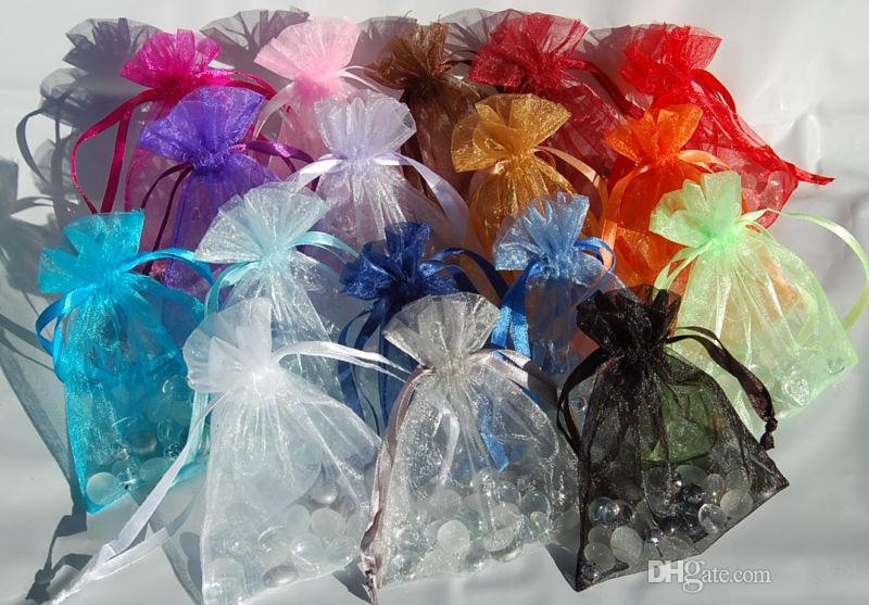 Bolsa de regalo de organza roja de 300 piezas Bolsa de favor de la boda 9X12 cm Bolsas de embalaje Envoltorio de regalo Nuevo