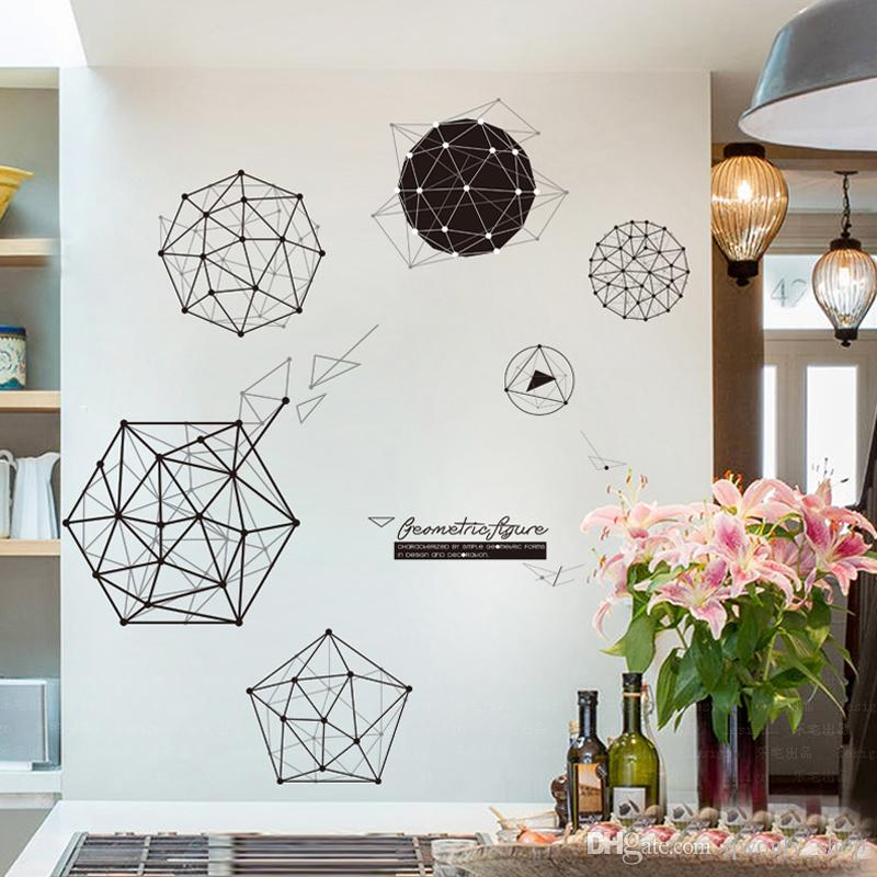 Fashion Modern Black White Geometric Line Wall Sticker DIY Home Decor Living Room Removable Nursery Wall Art Decal Stickers