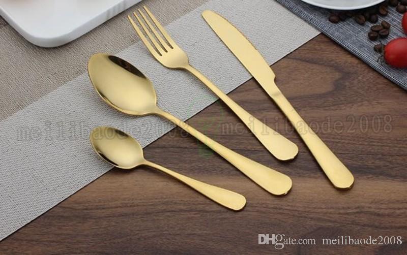 Alto grado de oro cubiertos cuchara tenedor cuchillo cuchara de té oro mate de acero inoxidable Alimentación Cubiertos Vajillas Utensilios MYY