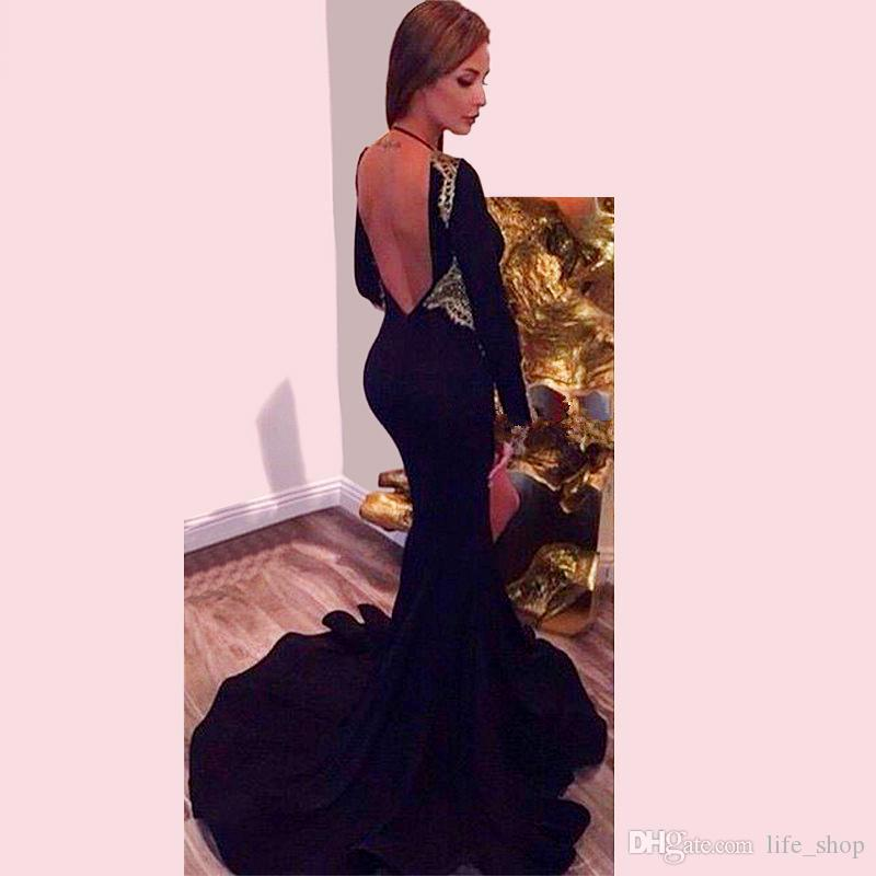 Sexy Deep V Neck Evening Dresses 2016 Long Sleeve Backless Side Split Court Train Mermaid Prom Gowns