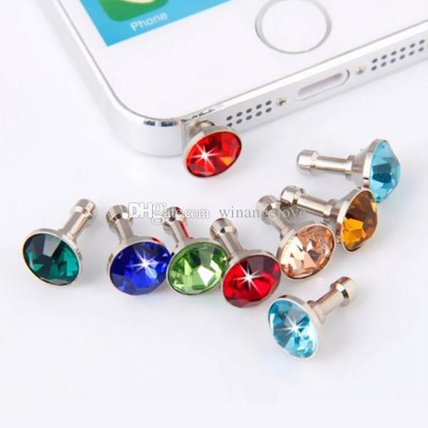 Spina antipolvere anti-diamante Tappi cuffie Tappo Tappo Gadget Accessori telefoni cellulari Strass Jack cuffie da 3,5 mm