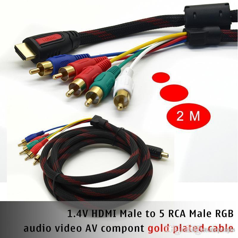 6.5ft 2M HDMI to 5 RCA Video Audio Component Cable Cabo Kabel ...