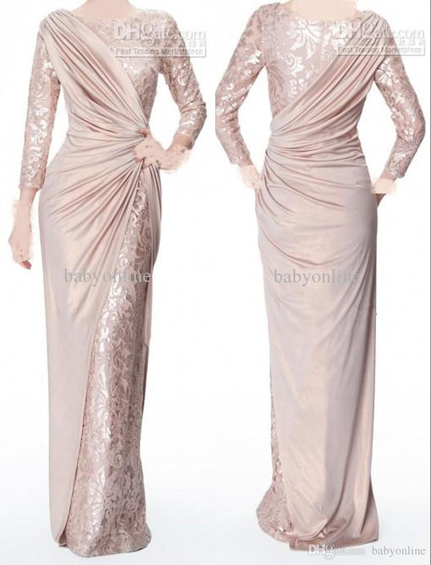 f678ae3bdde 2017 Custom Made Pearl Pink Long Sleeves Mother Of Bride Evening Dresses  Jewel Neck Elegant Glossy Floor Length Pleats Formal Prom Gowns Mothers  Dresses For ...