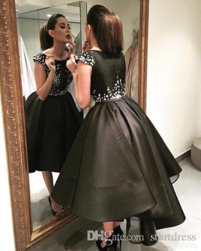 Großhandel Einzigartige Schwarze Ballkleid High Low Prom Kleider ...