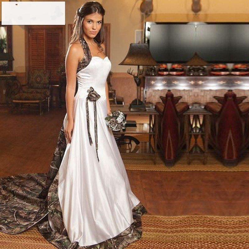 Discount 2015 New Styles Halter Camo Wedding Dresses Detachable Court Train White Gowns Satin 2016 Custom Made Bridal Dress Preowned