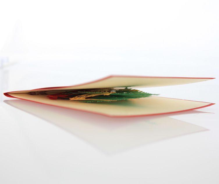 Christmas Pop Up Greeting Cards 3D Hollow Kirigami X'mas Tree Design Postcards Festival Party Celebration Favors