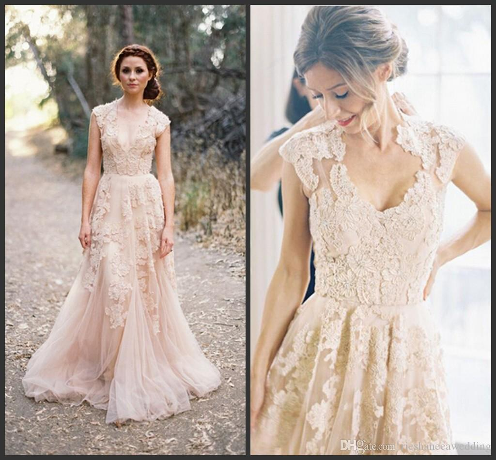 Nice Discount Bohemia Plus Size Lace Wedding Dresses Sexy Deep V Neck Blush Colored  Wedding Dress A Line Short Sleeve Vintage Bride Gowns Cheap A Line Wedding  ...