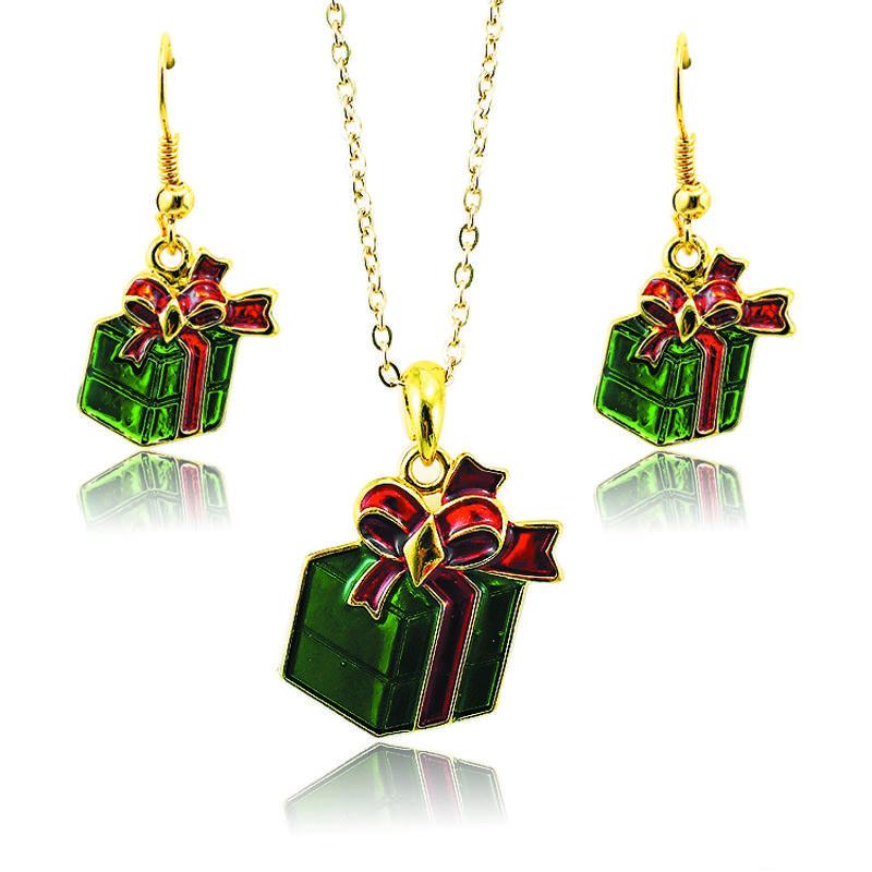 Jinglang Mode Bijoux Ensembles Plaqué Or Vert De Noël Cadeaux Pour Femmes Charms Boucles D'oreilles Collier Ensembles SDTZ0013