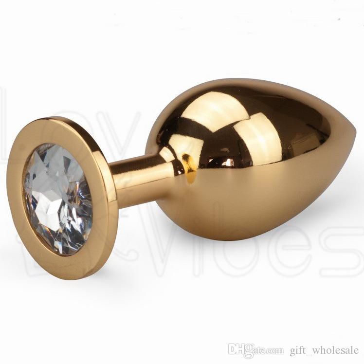 Новое прибытие Золотой секс-игрушки анальную пробку металл привлекательный Butt Plug ювелирные изделия изукрашенный анальный вилки Rosebud анальный ювелирных изделий большой размер