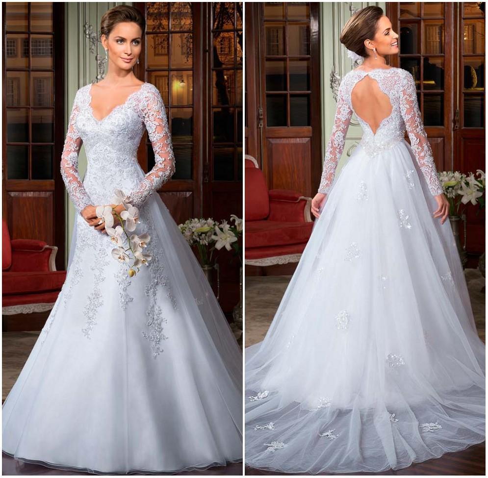 Discount Luxury Long Sleeve Vintage Wedding Dresses In