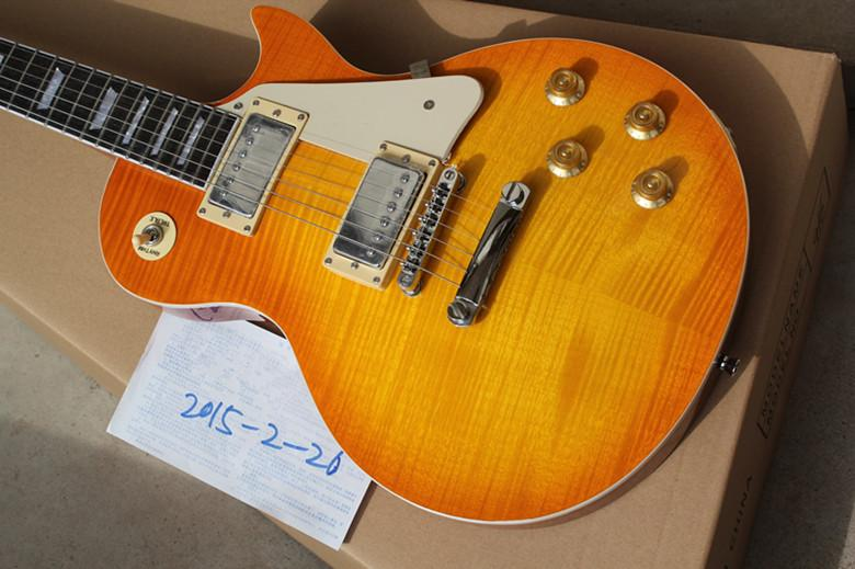 New Top Quality Tiger Flame Maple Top Standard Mahogany No Scarf Joint Neck Yellow Electric Guitar China Custom Shop