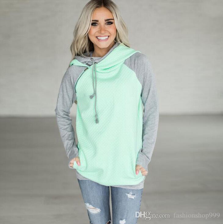 Doppelte Farbe Reißverschluss Nähte Hoodies Frauen Langarm Patchwork Pullover Winter Frauen Jacke Sweatshirts Jumper Tops OOA3397