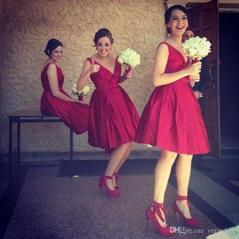 Increíble Vestido De La Dama De Honor Roja Larga Regalo - Ideas de ...