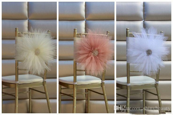 New Coming Tulle Sunflower Crystal Custom Made Wedding Events Beautiful Wedding Supplies Chair Sash Chair Covers