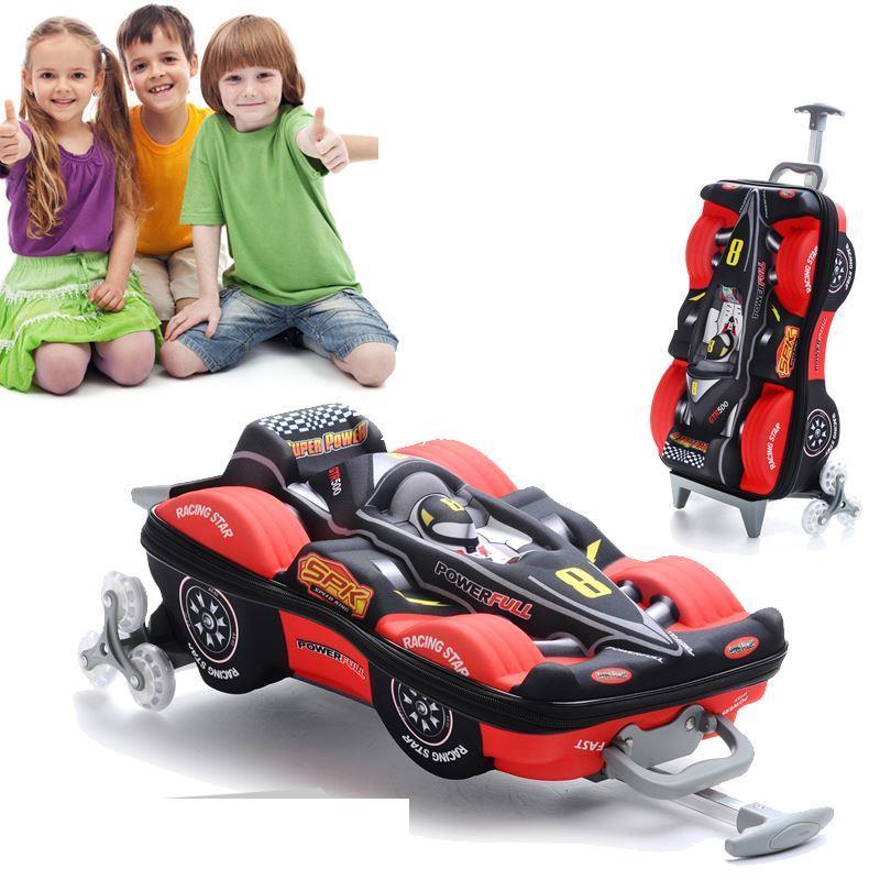 3d F1 Car Model Trolley School Bag For Boys Mochilas Kids Cartoon Three Dimensional Children Luggage On Wheels Blue Red Weekend Bags Luxury