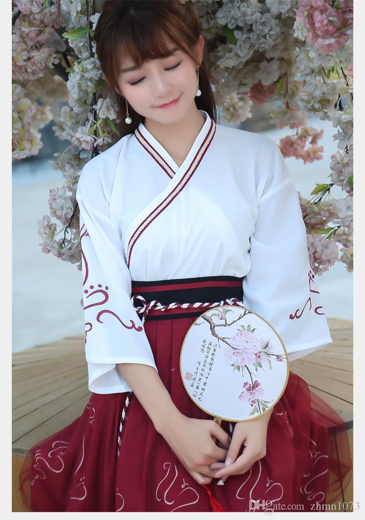 Verbessertes Hanfu-Vintage-Kleid für Kleidkragenrock im chinesischen Stil