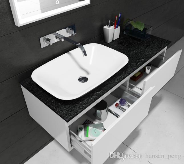 Rectangular Bathroom Solid Surface Stone Counter Top Vessel Sink Fashionable Cloakroom Stone Glossy Vanity Wash Basin RS38205