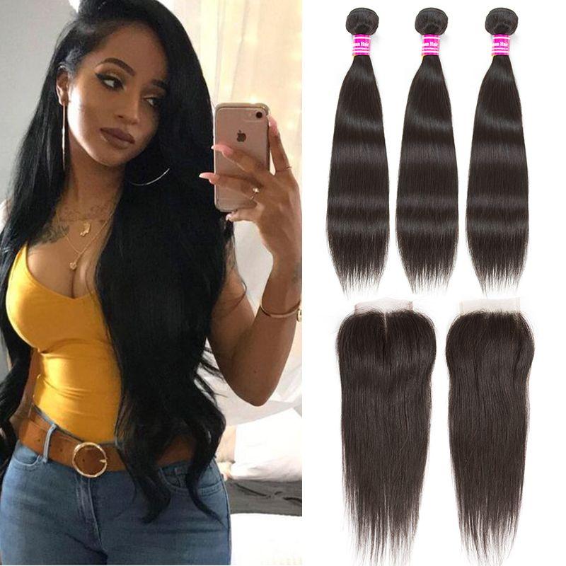 2018 Straight Remy Human Hair Extensions Brazilian Virgin Hair Weave