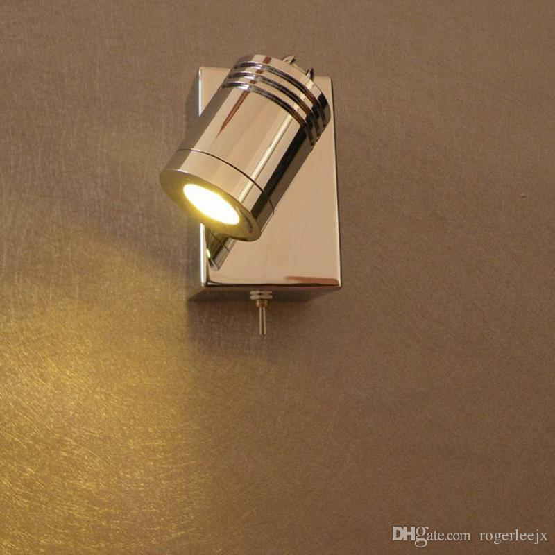 Topoch Wall Mounted Light for Reading with on/off Switch Integral LED 3W Directional Cylindrical Head Chrome Finish for RV Boat Residential