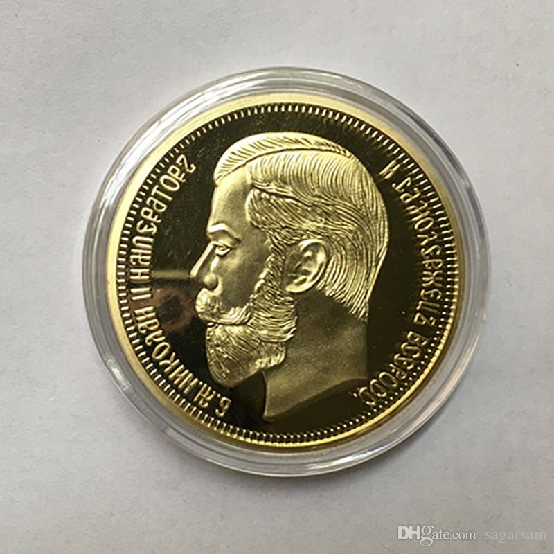 Non Magnetic The Brand new 1901 Nicholas II of Russia coins commemorative 24K real gold plated 40 mm souvenir decoration metal coin