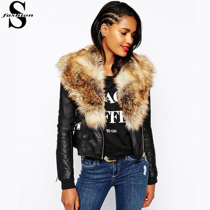 2017 New Women Faux Fur Shawl Biker Jacket Long Sleeve Zip Leather ...