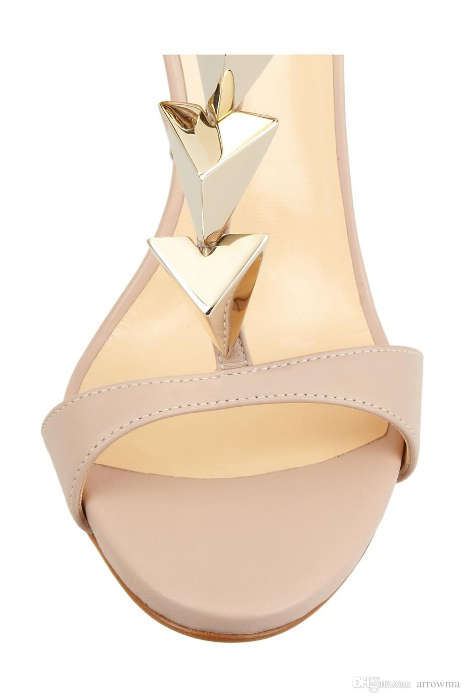 2016 Custom Made Wedding Shoes Rivets Sexy T Strap Back Zipper Plus Size Bridal Shoes Nude Cheap Modest Bridal Accessories Summer Sandals
