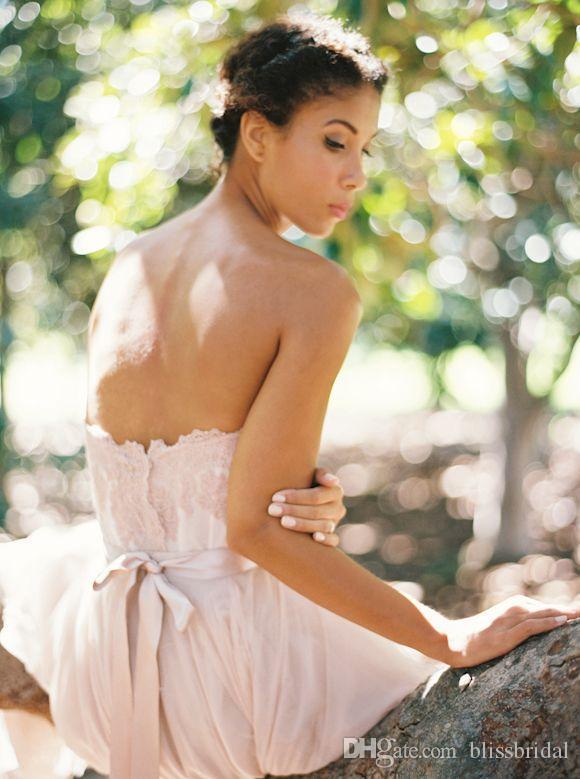 Jardin romantique Tulle Mousseline De Soie Blush Robes De Mariée Robes De Mariée Cherie Dentelle Appliques Corsage Low Back Sexy Robes De Mariée Une Ligne