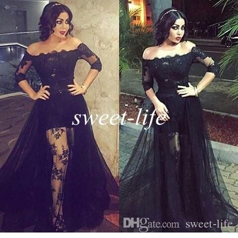 dcb8c0049ea6 Black Lace Prom Dresses Off The Shoulder High Low See Through With Sleeves  Over Skirt Tulle 2016 Sexy Evening Gowns Party Celebrity Dresses Hire Prom  ...