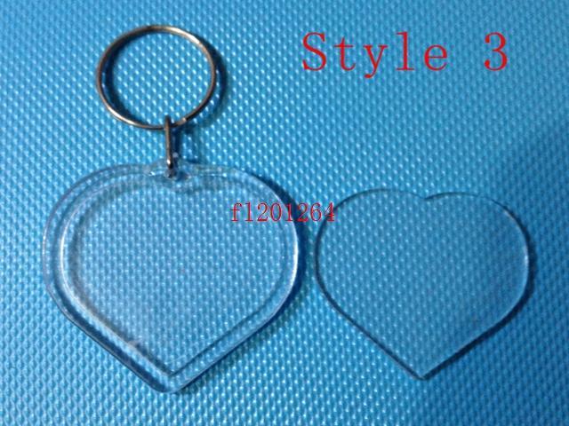 / liberano i più nuovi portachiavi a forma di chiave di foto in bianco acrilico di DIY nuovi inseriscono i portachiavi di plastica della foto