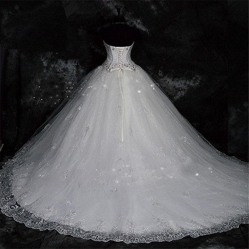 Robe de Mariage Lace Rhinestone Plus Tamaño Bola Vestidos de novia 2021 Boda Vestidos nupciales Vestido de Novia