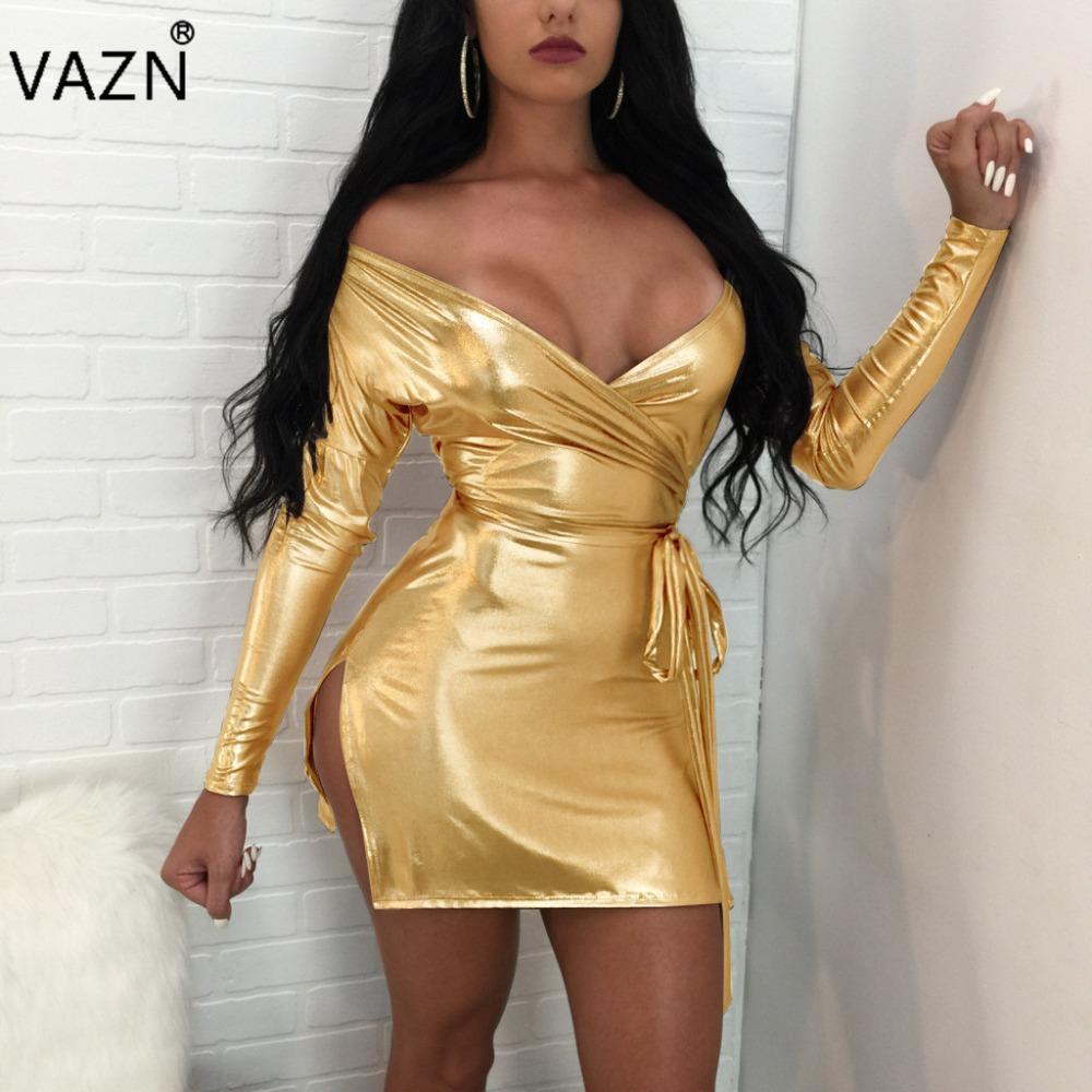 a50bfe3e574a9 VAZN 2017 New Fashion Women Bandage Dress Full Sleeve Mini Dress Sexy  Strapless Leather Club Dress K9090 q171118
