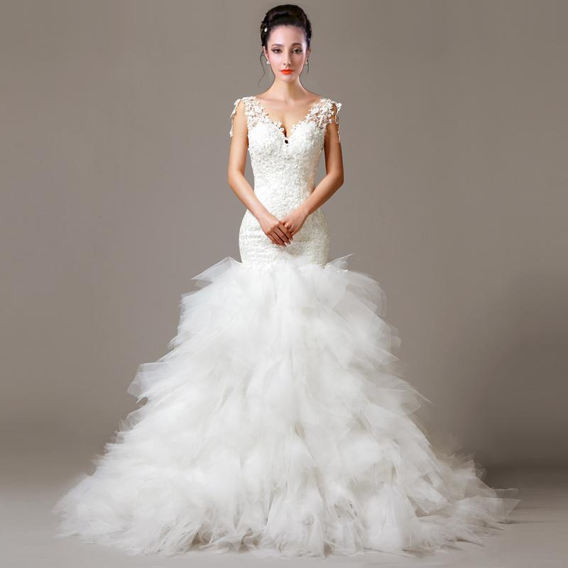 Wedding Gown With Feathers: Lace Feather Mermaid V Neck Wedding Dress With Appliques