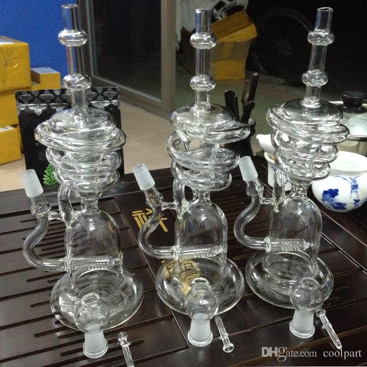 12 Zoll zwei Funktionen 9 Arm Perkolator und Wabe Glas Bong Glas Wasserpfeife klar, Farbe Double Recycler Bong