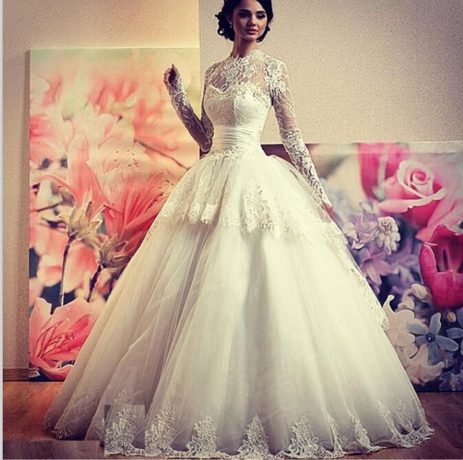 Ivory Organza Lace Ball Gown Hijab Wedding Dresses Sheer