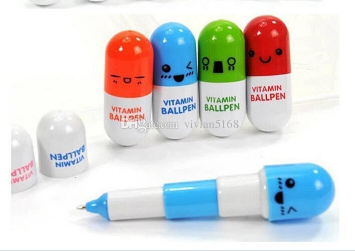 Uroczy Kawaii Pigułki kształt Chowany Długopis Długopis Słodkie Nauka Papiernicze Nagroda Studentów Pill Witamina Nowość Ballpen Darmowa Wysyłka