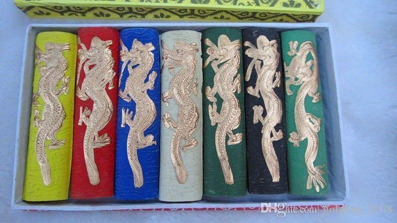 Wholesale Cheap Asia old 7 colours Carved dragon chinese solid calligraphy Painting ink stick