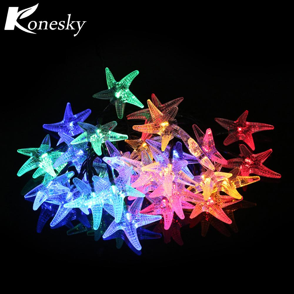 wholesale 30 led star solar powered fairy christmas lighting waterproof string lights indoor outdoor home patio lawn garden beach party novelty string