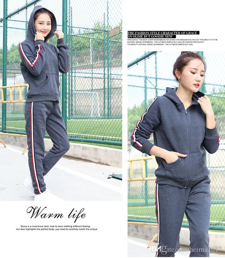 2017 winter fitness sports sweater with hat leisure loose warm ladies suit