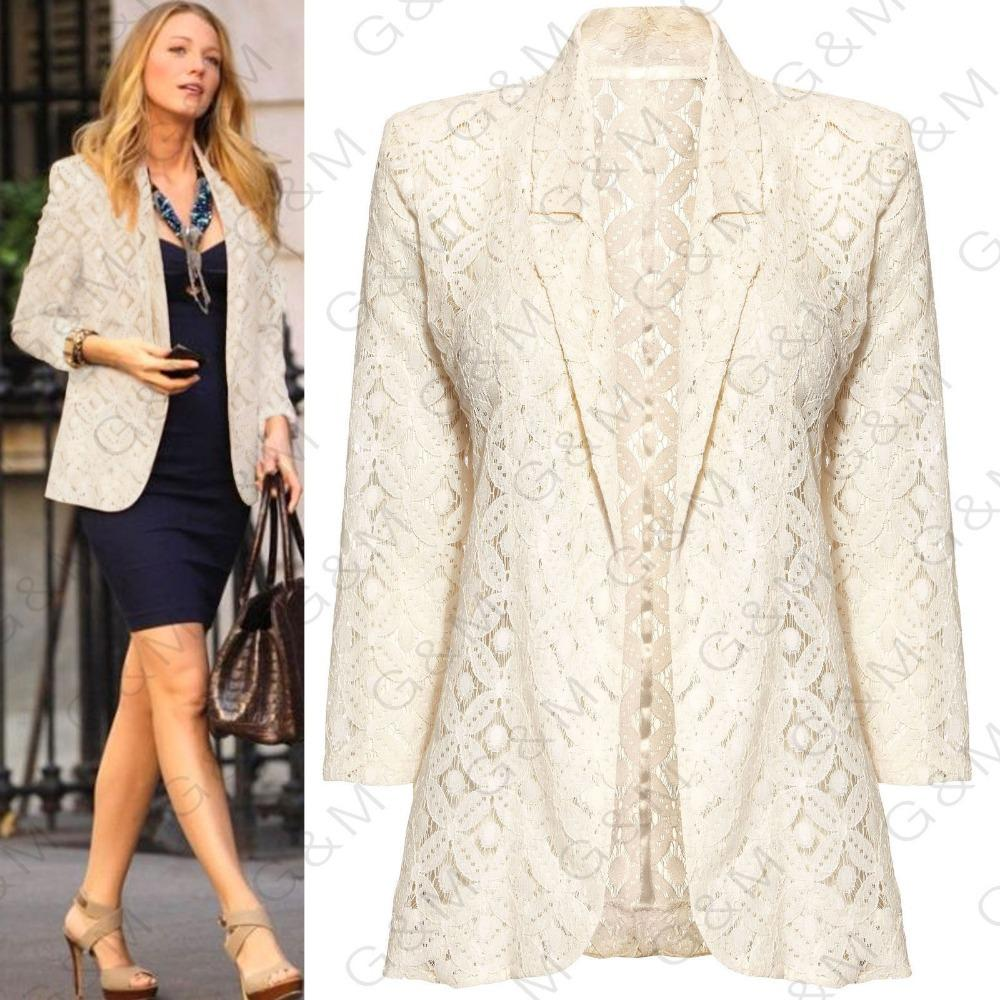 2017 2015 European Style Beige Blazer Women Gossip Girl Ladies ...