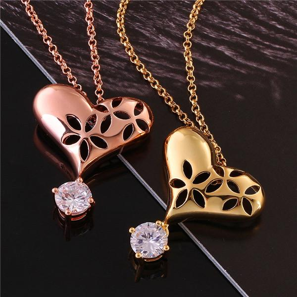 Wholesale simple necklace designs gold plating heart shape pendant wholesale simple necklace designs gold plating heart shape pendant necklace with clear zircon best selling for women charm necklace pendants from dhalice aloadofball Images
