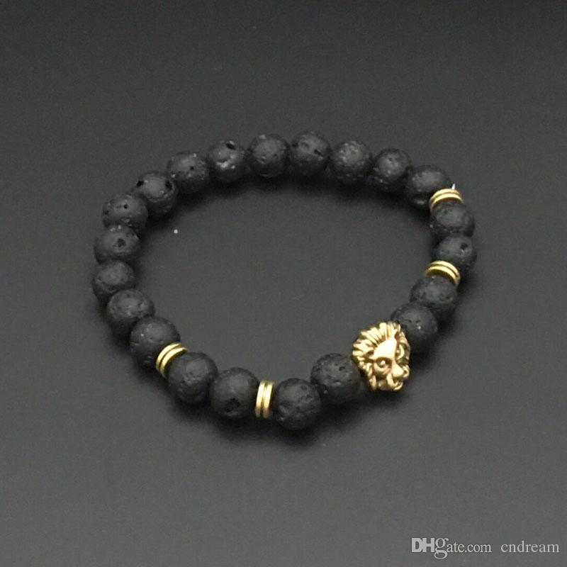 Silver Gold Lion Skull leopard Charm Bracelet Natural Stone Lava Rock Prayer Buddha Bracelet Bangle Cuffs for Women Jewelry Drop Shipping
