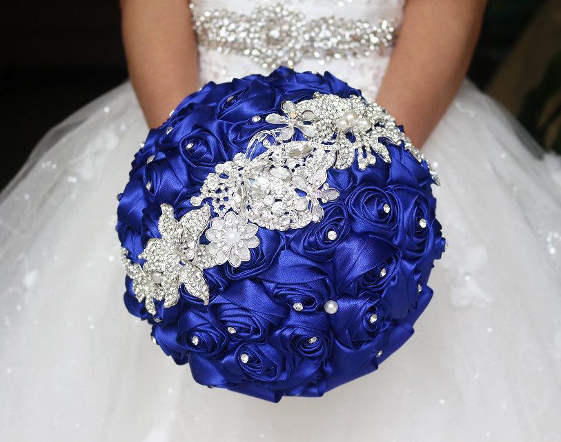 blue bridal bouquet blue rose wedding bouquet satin rose brooch bouquet jewelry wedding. Black Bedroom Furniture Sets. Home Design Ideas