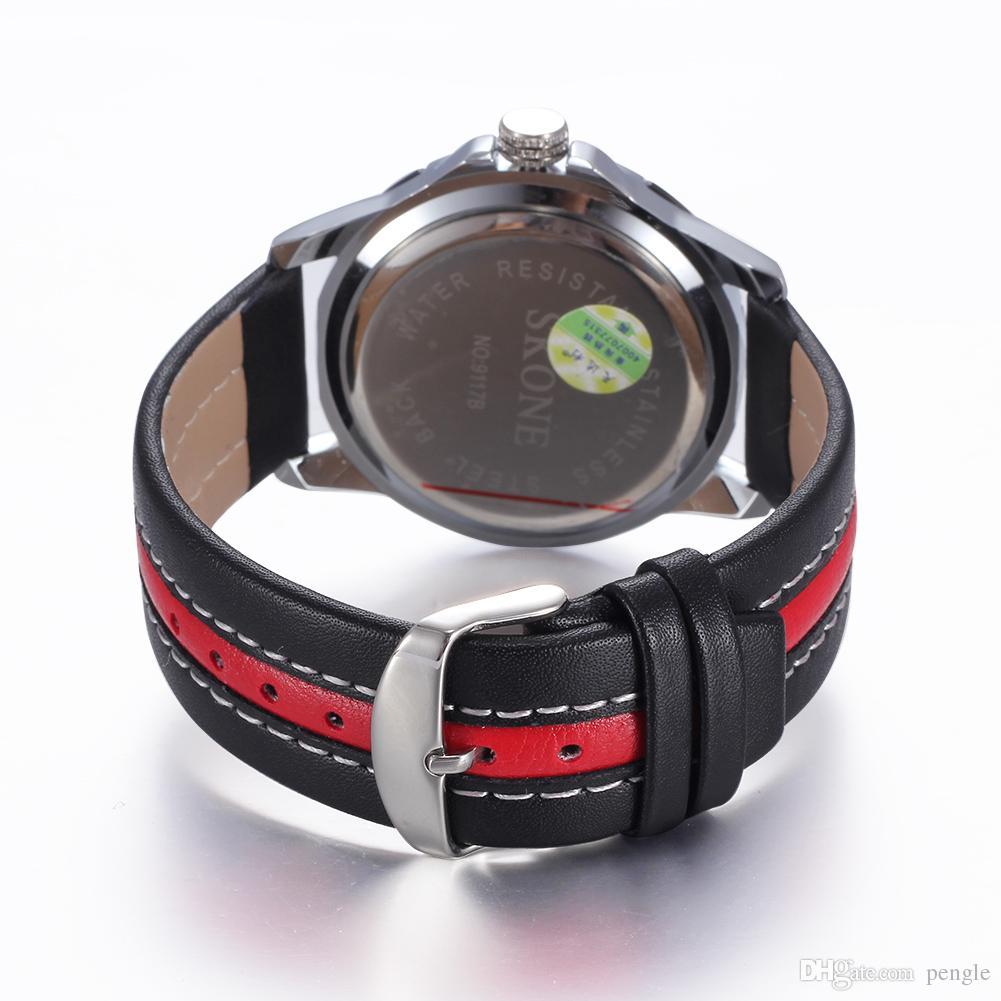 Новая Мода Мужские Часы Дата Календарь Кожаный Ремешок Кварцевые Часы Роскошные Повседневные Спортивные Наручные Часы Водонепроницаемый