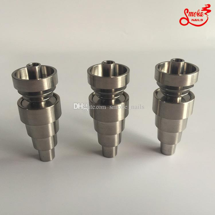 DHL Gratis 10mm / 14mm / 19mm Vrouwelijke Mannelijke 6 in 1 Domeloze Titanium Nail voor alle Roken Glas Waterleidingen Op voorraad