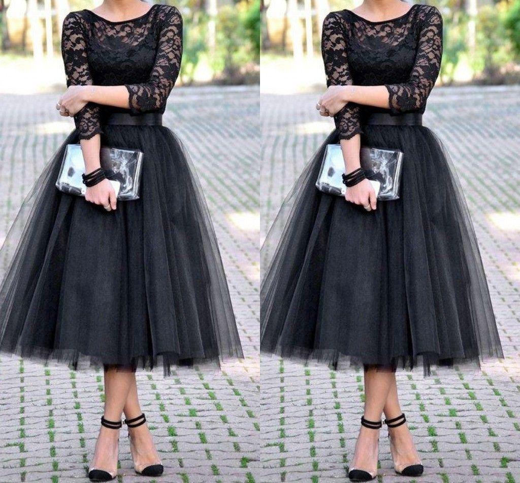 2019 Herbata Długość Druhna Dresses Suknia Wieczorowa 3/4 Długie Rękawy Jewel Line Black Party Suknie Koronki Długie Suknie Gościnne