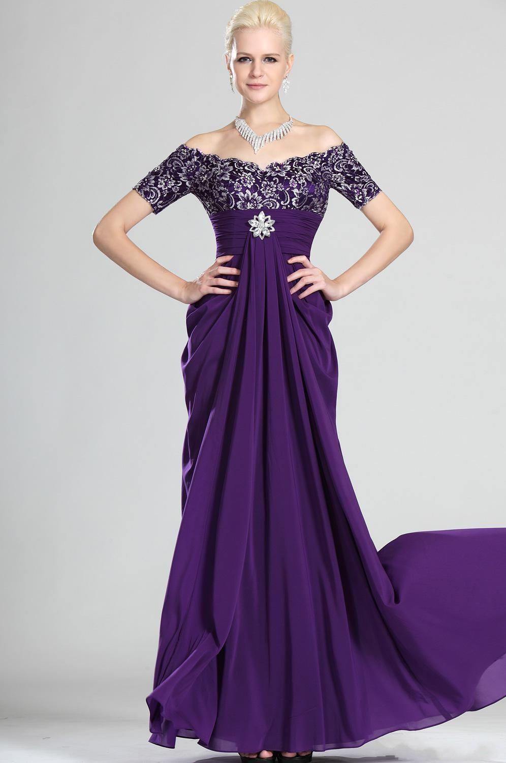2015 Purple Chiffon Off Shoulder Mother Dresses Purple Short Sleeves ...