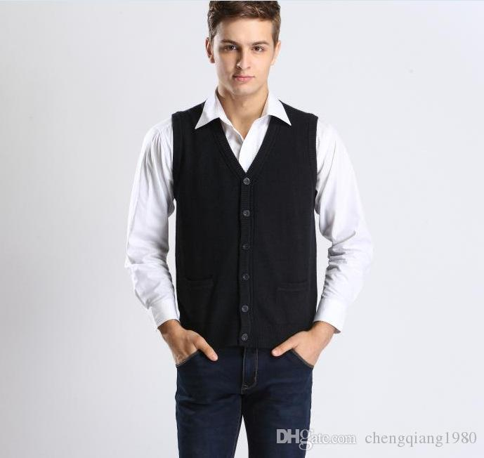 2018 Men'S Casual Sleeveless Sweater Cardigan Button Up Cashmere ...