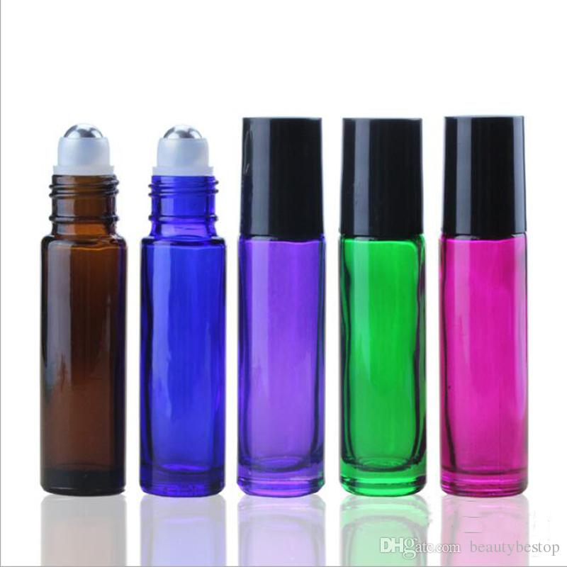 Black/Pink/Green/Purple 10ml Essential Oil Roller Ball Bottles Wholesale Perfume Glass Roll On Empty Bottle