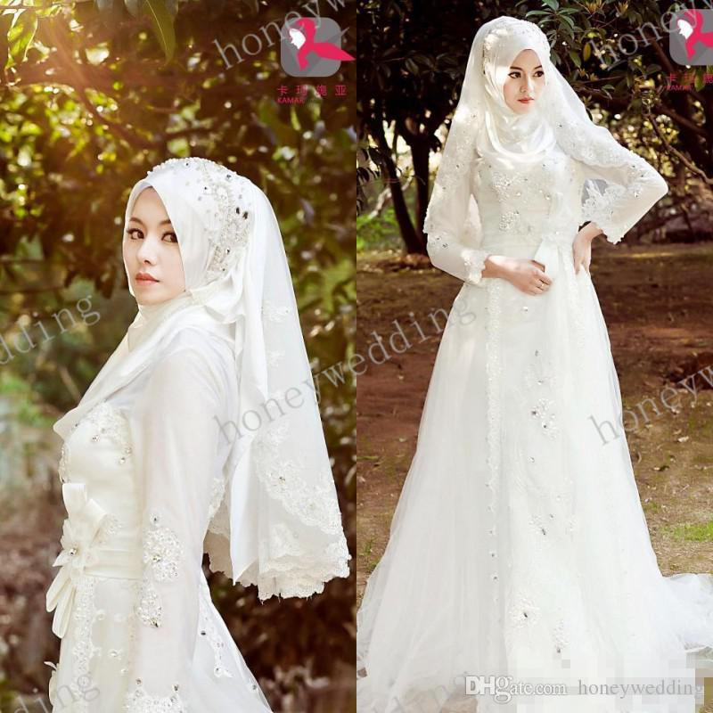 2014 saudi arabia muslim wedding dress high neck long for Cheap wedding dress malaysia